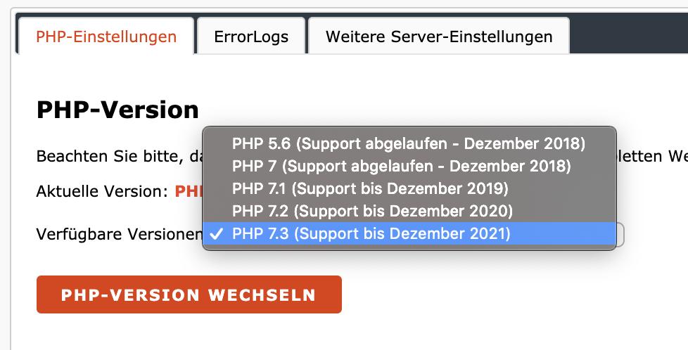 PHP Einstellung des Hosters