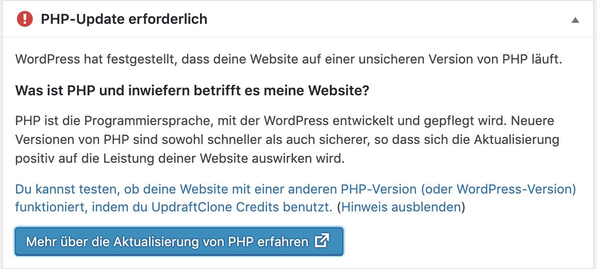 Worpdress PHP Hinweis