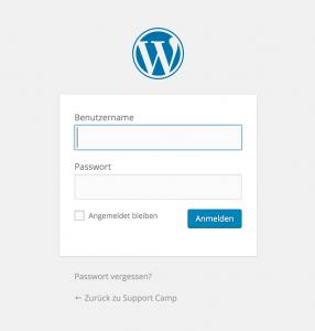 Das WordPress Anmelde Fenster