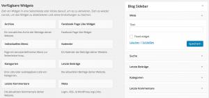 Meta Widget konfigurieren für Sidebars & Footer