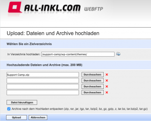 WordPress Theme über den FTP Server hochladen
